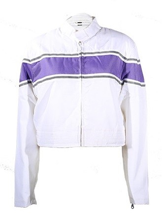 Womens White/Purple Textile Motorcycle Jacket