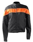 Womens Light Weight Black/Orange Textile Jacket