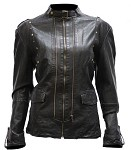 Women's Leather Jacket With Studs On Front and Back