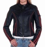 Womens Leather Motorcycle Jacket with Orange Stripes