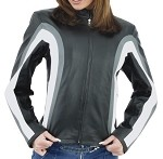 Womens Leather Motorcycle Jacket with Gray & White Stripes