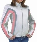 Womens Leather Jacket with Silver & Pink Stripes