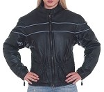 Women's Leather Motorcycle Jacket With Reflective Piping