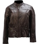 Womens Brown Leather Motorcycle Jacket With Air Vents