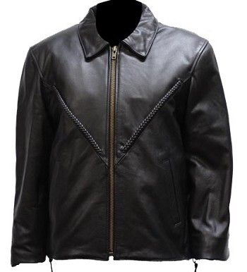 Women's V-Braid Leather Motorcycle Jacket with Z/O Liner