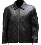Women's Leather Motorcycle Jacket, Braided Front & Back
