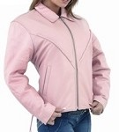 Womens Braided Pink Leather Jacket with Zip Out Lining
