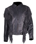 Ladies Leather Jacket with Studs and Fringe
