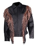 Women's Leather Jacket with Studs and Fringe