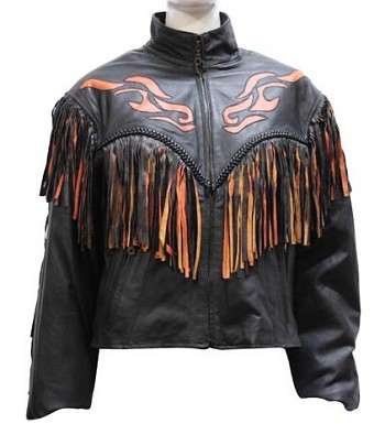 Ladies Fringe Leather Motorcycle Jacket with Flames