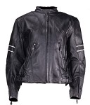 Womens Leather Jacket with Reflective Stripes On Arms