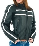 Womens Vented Cream Striped Leather Motorcycle Jacket