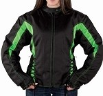Women's Vented Armored Black & Green Motorcycle Jacket
