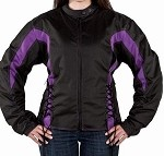 Women's Vented Armored Black & Purple Motorcycle Jacket