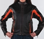 Women's Black & Orange Leather Motorcycle Jacket