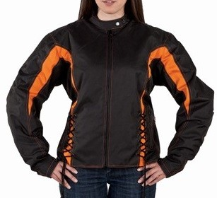 Womens Black & Orange Textile Motorcycle Jacket
