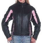 Womens Black & Pink Leather Motorcycle Jacket