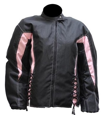 Women's Vented Armored Black & Pink Motorcycle Jacket