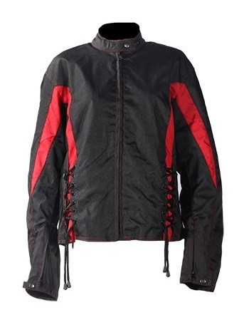 Womens Black/Red Textile Motorcycle Jacket