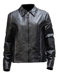 Women's Reflective Piping Leather Motorcycle Jacket