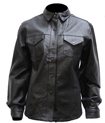 Women's Black Leather Shirt with Snaps and Lining