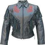 Womens Red Rose Leather Motorcycle Jacket with Fringe