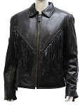 Women's Fringe Leather Motorcycle Jacket with Braid & Conchos