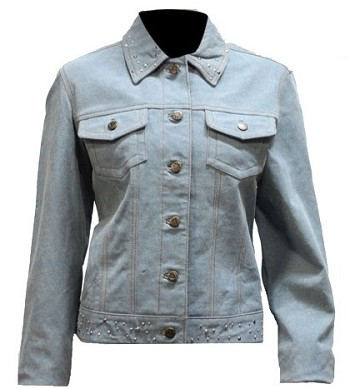 Womens Leather Denim Looking Jacket with Studs