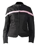 Womens Black and Pink Textile Motorcycle Jacket