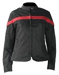 Womens Black and RedTextile Motorcycle Jacket
