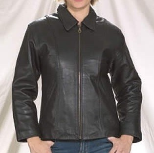 Women's Leather Jacket with Front Zipper and Lining
