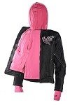 Women's Textile Jacket With Pink Hoodie & Butterfly