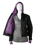 Womens Textile Motorcycle Jacket with Purple Hoodie