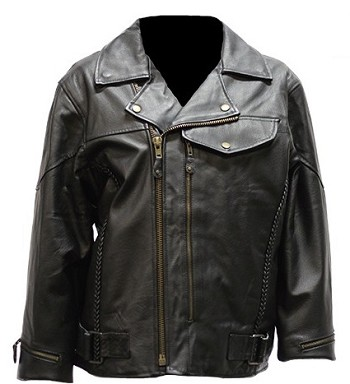 Womens Braided Pistol Pete Leather Motorcycle Jacket