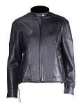 Womens Vented Leather Motorcycle Jacket with Side Laces
