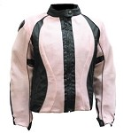 Women's Black/Pink Padded Textile Motorcycle Jacket