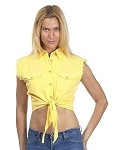 Womens Front Tie Yellow Denim Sleeveless Shirt