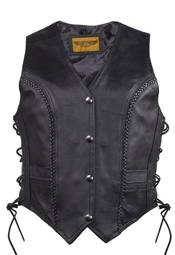 Womens Longer Cut Motorcycle Vest With Braid