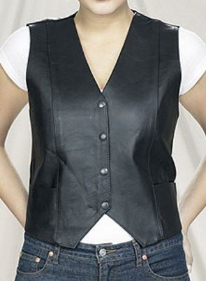 Womens Plain Leather Vest with Pockets & Back Lace