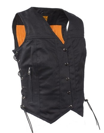 Womens Denim Motorcycle Vest with Gun Pockets
