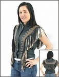 Womens Black & Brown Vest with Beads, Bone, Braid, Fringes