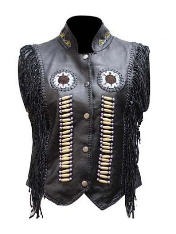 Womens Black Leather Vest With Bones & Beads