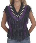 Womens Leather Vest With Bones, Beads & Studs