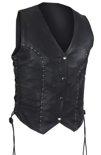 Womens Studded Leather Motorcycle Vest with Gun Pockets