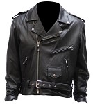 Men's Leather Motorcycle Jacket, Zip Out Lining, Side Laces