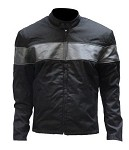 Mens Black Textile Motorcycle Jacket With Gray Stripes