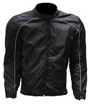 Mens Reflective Piping Black Armored Motorcycle Jacket