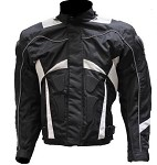 Mens Armored Black & White Motorcycle Jacket