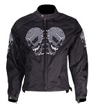 Mens Skull Textile Motorcycle Jacket with Air Vents