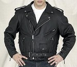 Men's Leather Motorcycle Jacket, Embossed Eagle on Back